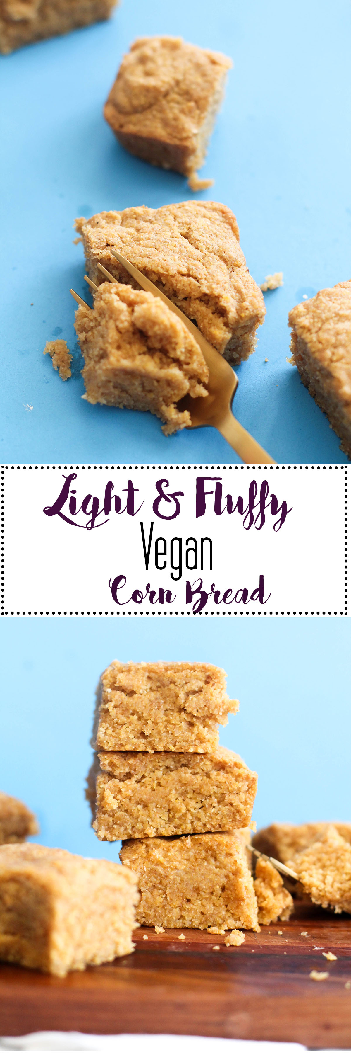 Light & fluffy corn bread that's vegan, gluten free, and refined sugar free! It's filled with flavor and a better option than store bought mixtures.