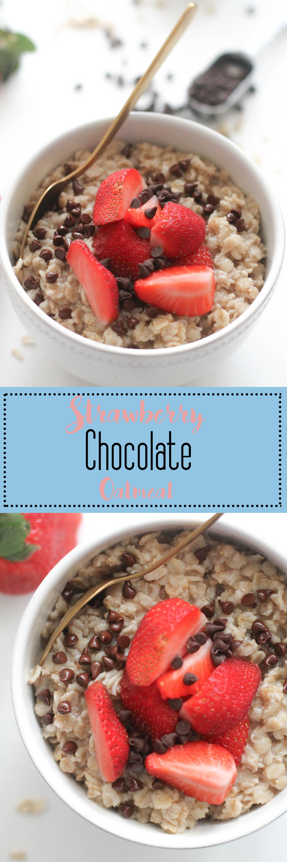 This strawberry chocolate oatmeal is vegan, gluten free, and absolutely delicious. It comes together in under 20 minutes and is the perfect dessert for breakfast!