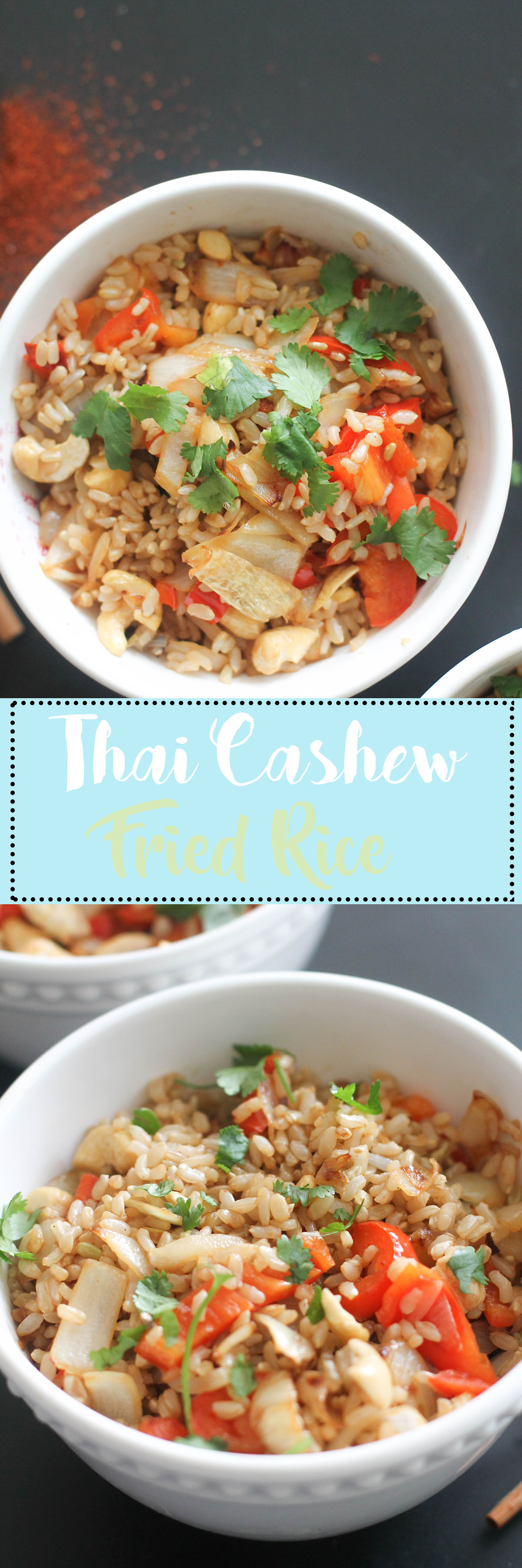 This Thai cashew fried rice is vegan, gluten free, and the perfect side dish. It's incredibly easy to make, comes together in under 30 minutes, is extremely filling, and a lighter option to the traditional dish.