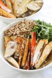 This roasted root vegetable buddha bowl is vegan, gluten free, and the coziest winter dinner. It's made with wholesome vegetables, natural ingredients, and comes together in under an hour.