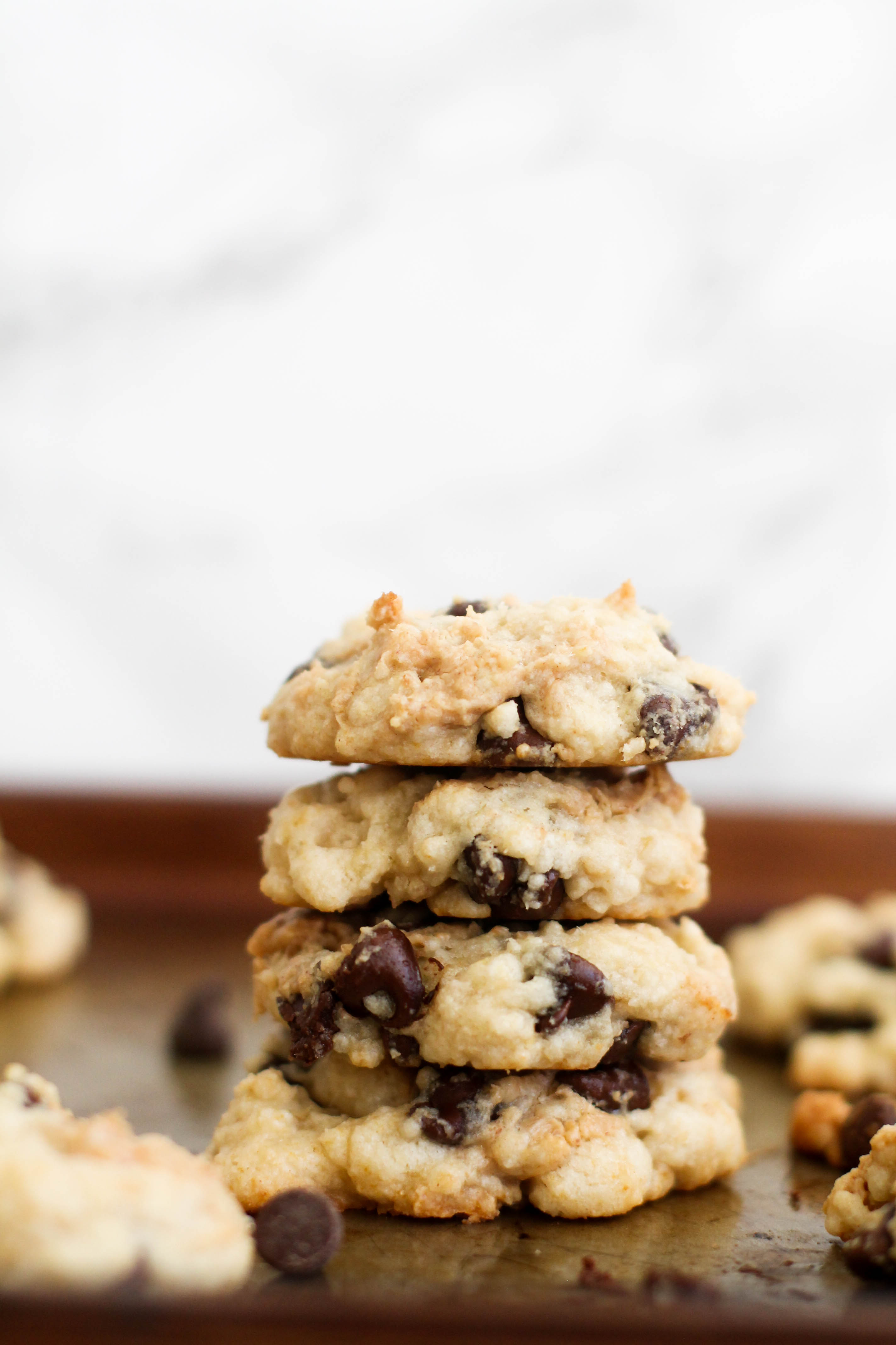 These vegan peanut butter stuffed chocolate chip cookies are full of flavor and make for the perfect dessert! They're nine ingredients and take less than 40 minutes to make.