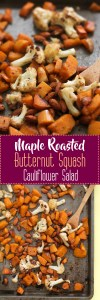 This maple roasted butternut squash cauliflower salad is vegan, gluten free, and the coziest side salad around. It's made with minimal ingredients, root vegetables, and makes for the best Thanksgiving side dish.
