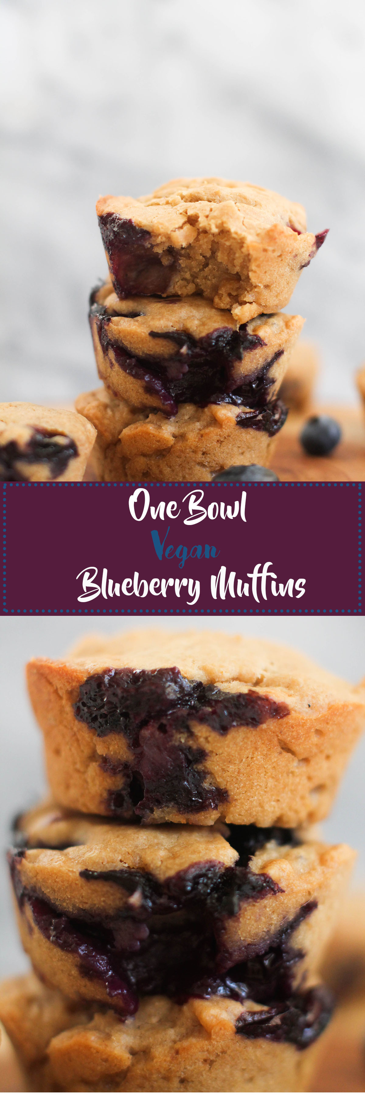 These one bowl vegan blueberry muffins are vegan, refined sugar free, healthy, and absolutely delicious. Made with 8 ingredients and ready in under an hour, they make for the perfect snack!