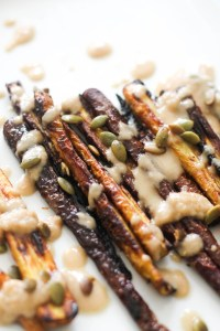 These maple roasted carrots are vegan, gluten free, and a great side dish. They're made with minimal ingredients, are naturally sweet, and easy to make.