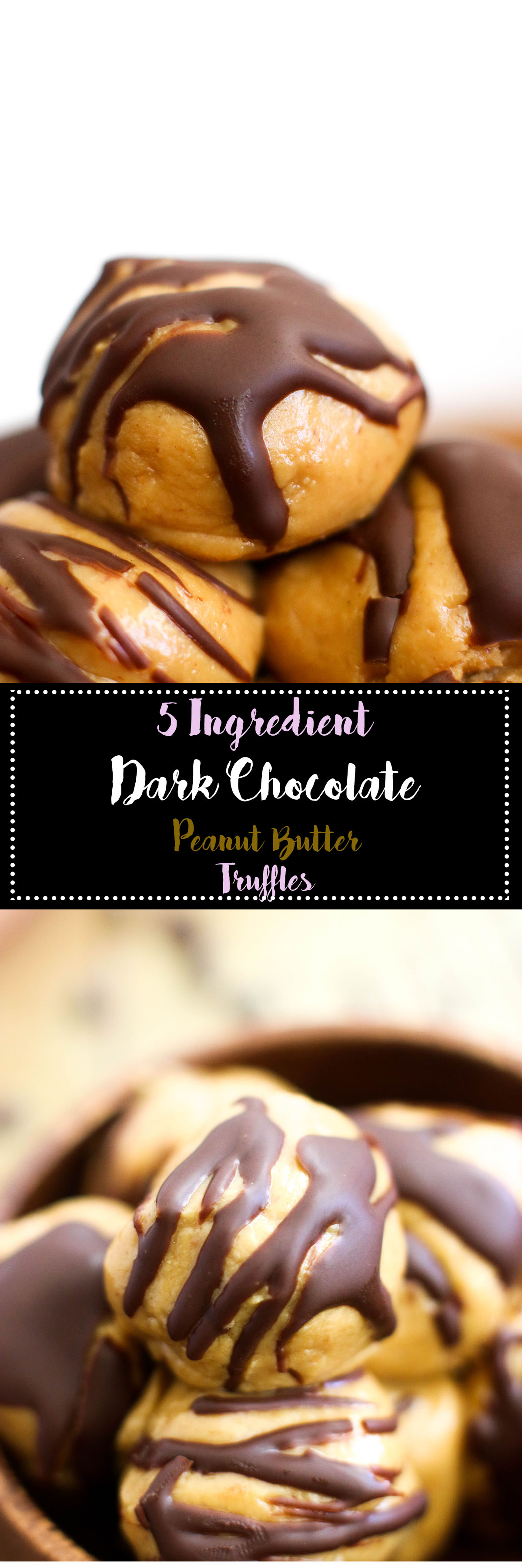 These 5 ingredient dark chocolate peanut butter truffles are vegan, gluten free, & absolutely delicious! They're naturally sweet and make for a great no-bake, healthier dessert.