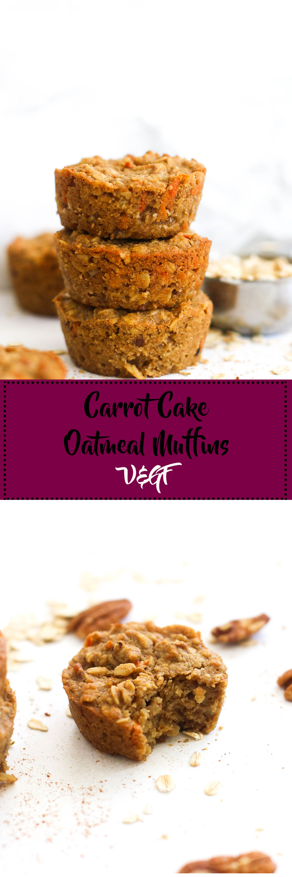 These carrot cake oatmeal muffins are vegan, gluten free, refined sugar free, and a great snack option! They're made with minimal ingredients, come together in under an hour, and are full of flavor.