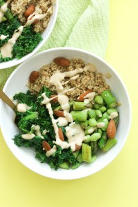This green goodness buddha bowl is vegan, gluten free, protein packed, and incredibly easy to make! It's filled with nutrients, flavor, and comes together in under 30 minutes.