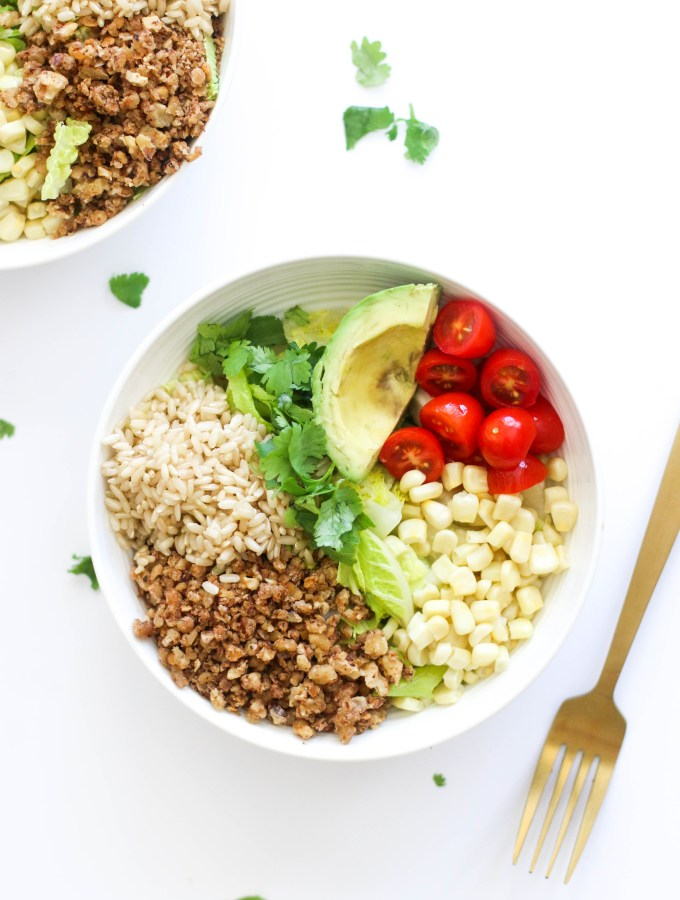 This lentil walnut taco meat is vegan, gluten free, packed with plant based protein, and is a great alternative to meat! It comes together in 20 minutes and is perfect in burrito bowls.