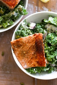 This zesty winter kale salmon salad is full of protein, flavor, and is easy to make! Made with a zesty yogurt dressing & filled with flavor, this is the perfect quick dinner.