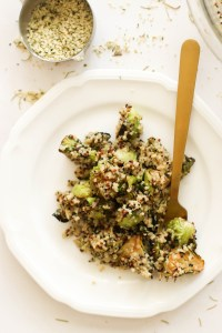 This rosemary brussels sprout quinoa salad is vegan, gluten free, incredibly delicious, and protein packed. It requires minimal ingredients and tons of flavor.