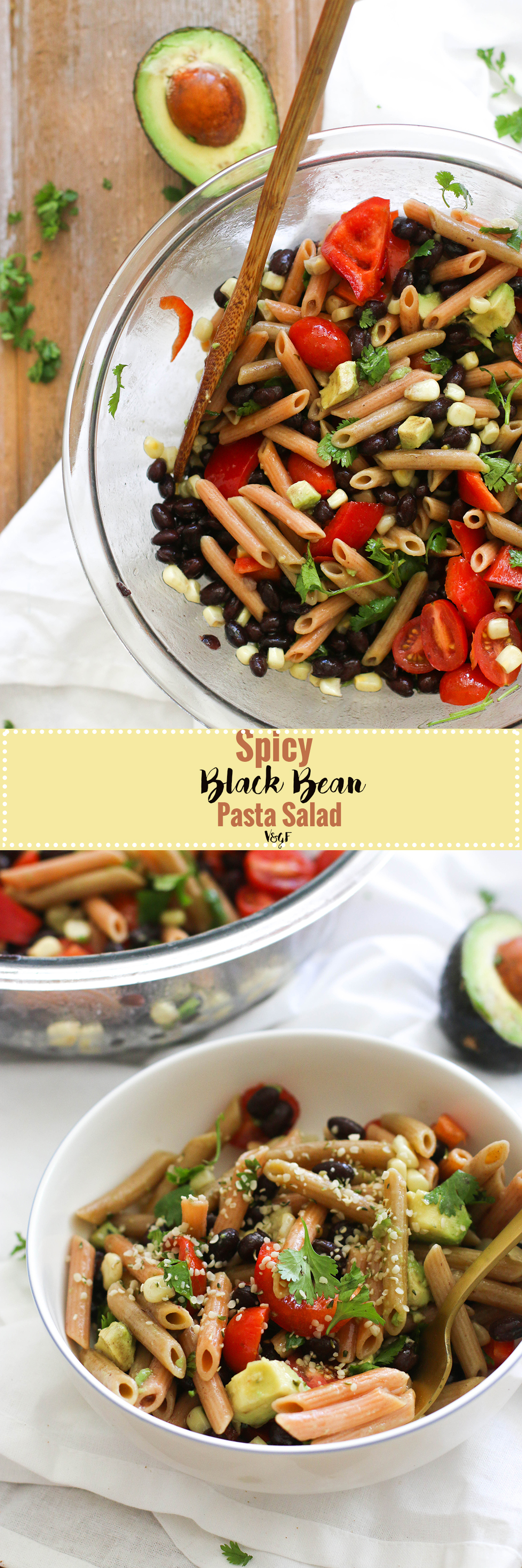 This spicy black bean pasta salad is vegan, gluten free, protein packed, and full of flavor! Made with common ingredients and incredibly flavorful, this is the perfect summer side dish.