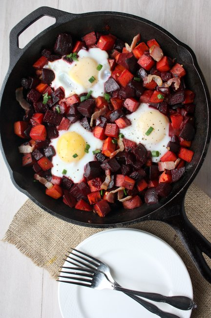beet and sweet potato hash