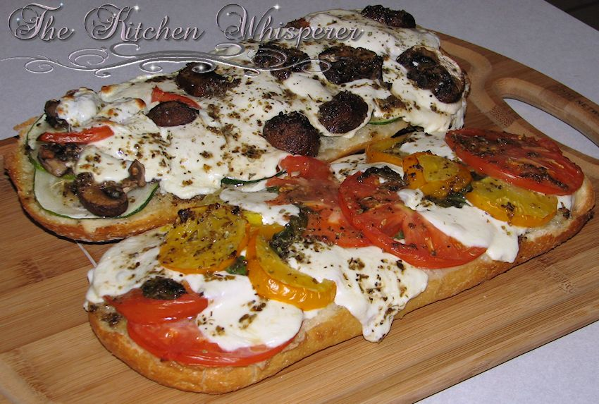 French Bread Garden Pizza With Herbed Oil