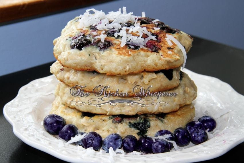 Coconut Oat Blueberry Pancakes
