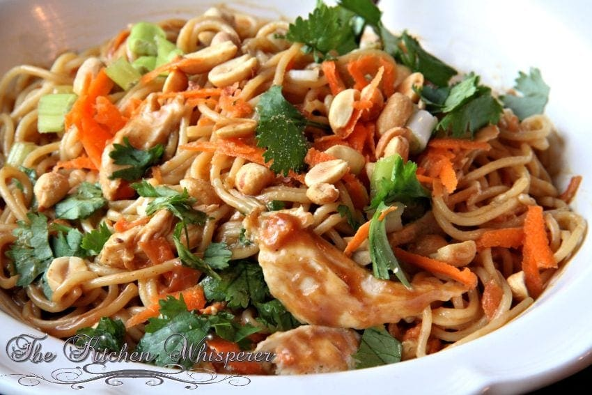 Thai Noodles with Chicken in a Spicy Peanut Sauce1