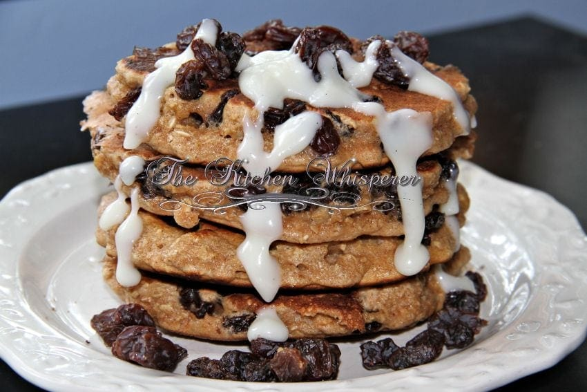 Protein Packed Oatmeal Raisin Cookie Pancakes with Cream Cheese Syrup7