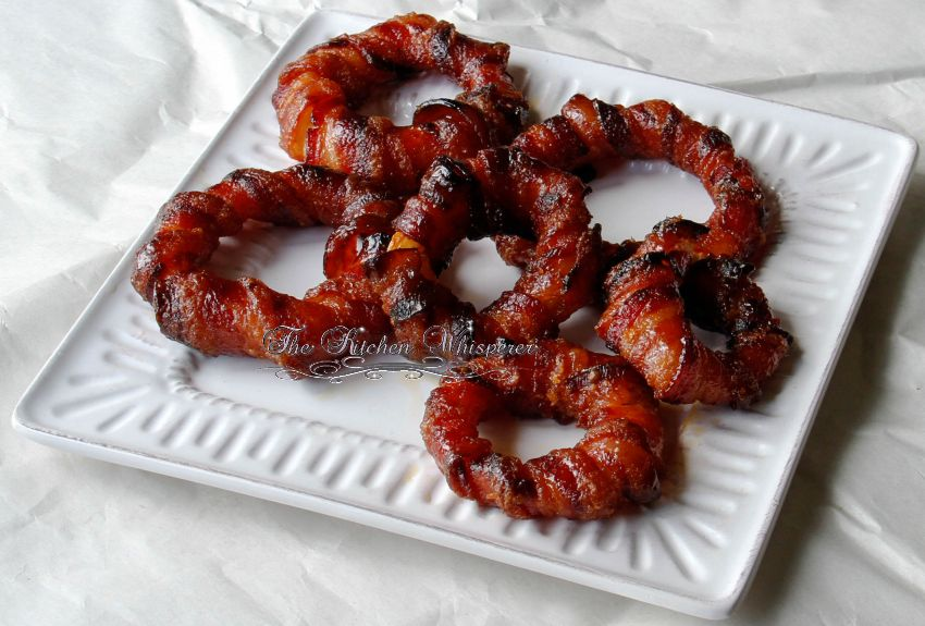 Baked Sriracha Glazed Bacon Wrapped Onion Rings11