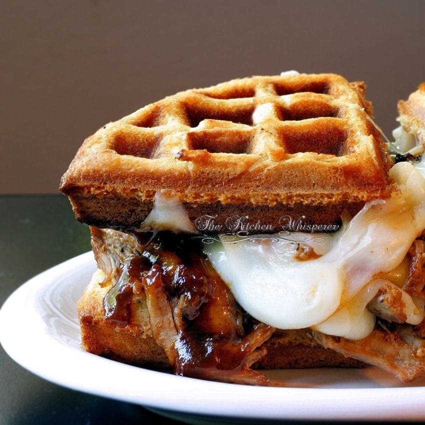 Whiskey Pulled Pork Melty Wafflich