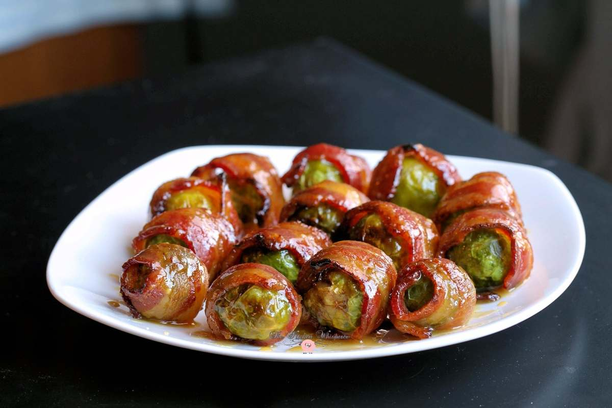 Candied Bacon Wrapped Brussels Sprouts with Maple Dijon Glaze