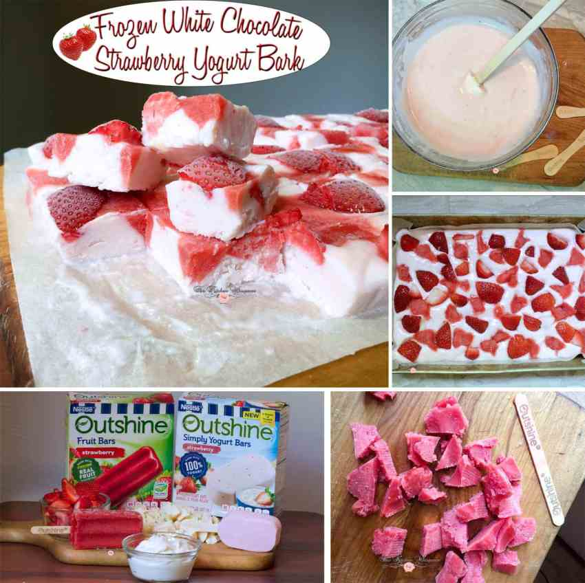 Frozen White Chocolate Strawberry Yogurt Bark Collage