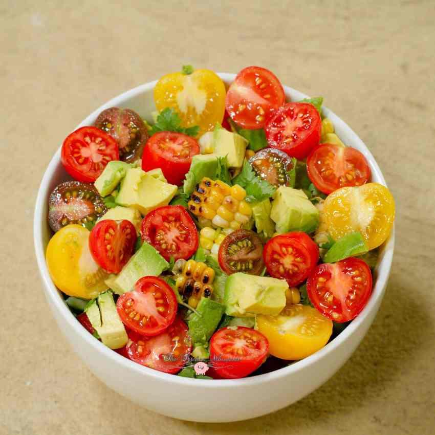 Rainbow Tomato Roasted Corn Summer Quenching Salad10