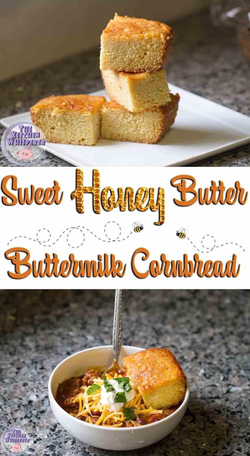 Sweet Honey Butter Buttermilk Cornbread