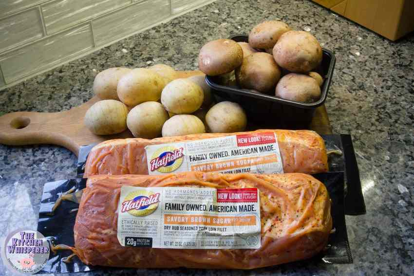 Sheet Pan Savory Brown Sugar Pork Tenderloin with Hasselback Potatoes and Stuffed Mushrooms