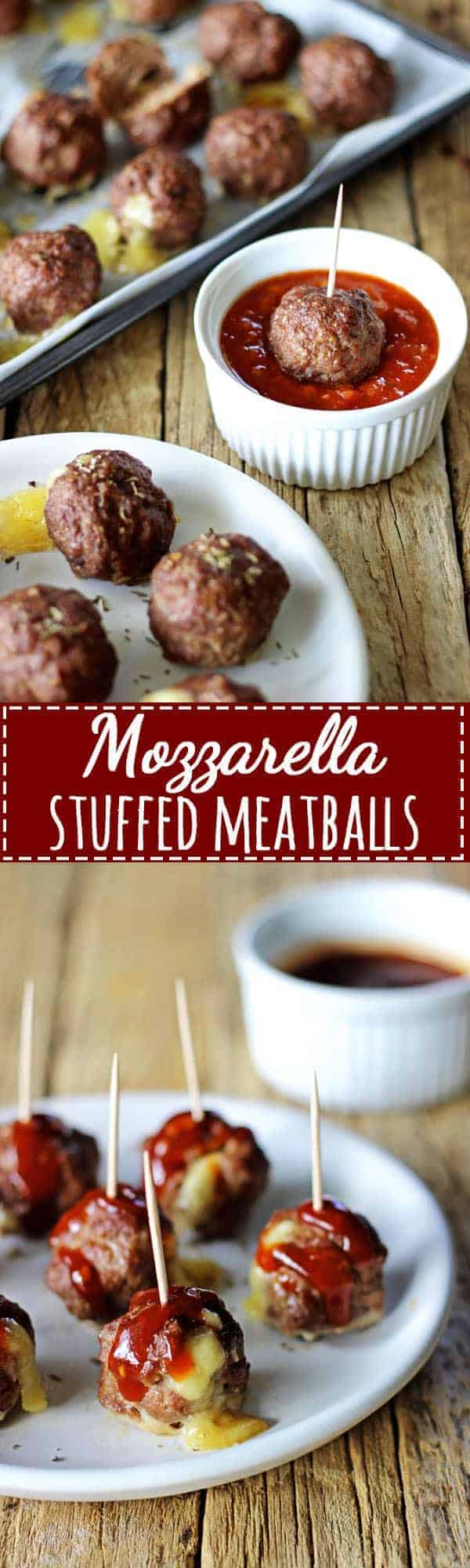 Mozzarella stuffed meatballs - the perfect quick dinner or make them mini, stick them on toothpicks and serve as an appetizer with BBQ or marinara sauce! | thekiwicountrygirl.com