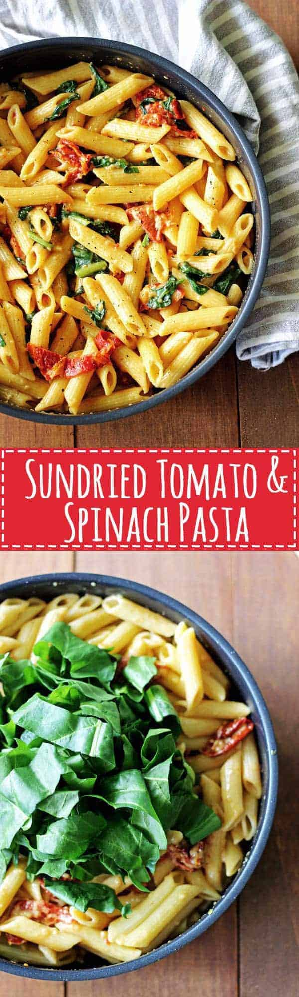 Sundried Tomato & Spinach Pasta - the ultimate in flavour packed comfort food! Plus it's a meal that's ready in 40 minutes! | thekiwicountrygirl.com