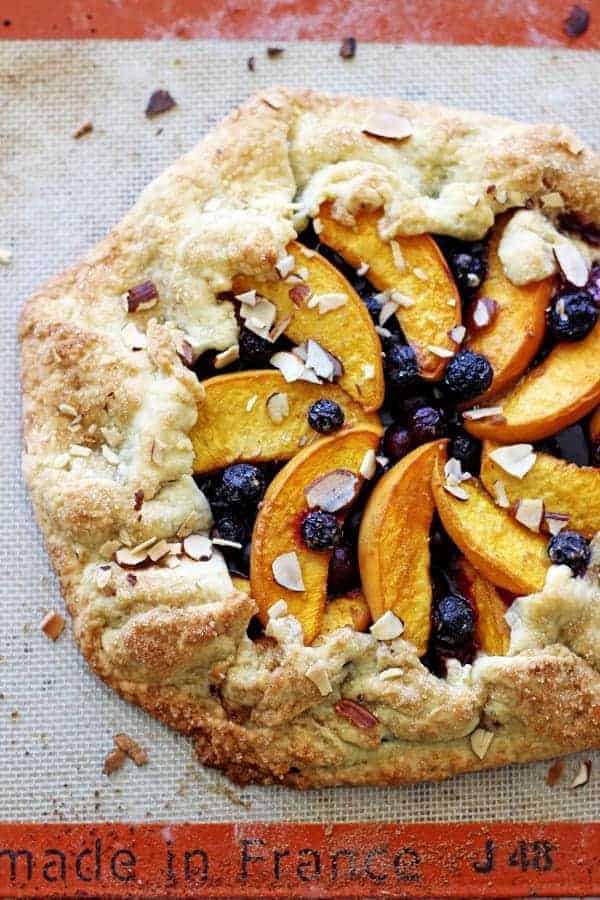 Peach & blueberry galette - a quick, easy and super impressive dessert and is the perfect way to use up all the delicious end of summer fruit | thekiwicountrygirl.com
