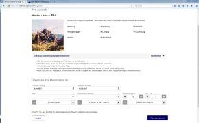 Als nächstes folgt die Eingabe der Reisedaten.