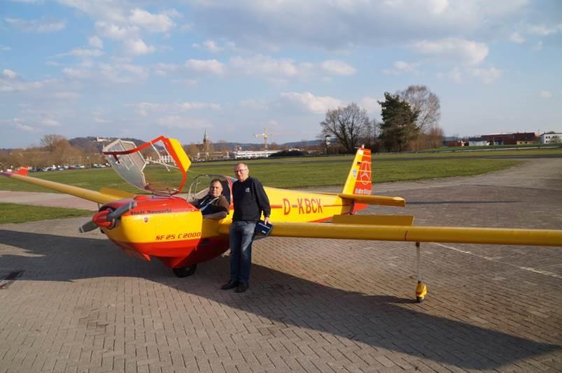 Robert Günter und Harald Ullmann nach einem erfolgreichen Werkstattflug (v.l.n.r), Foto, Benedikt Schnuchel