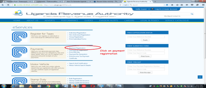 URA Payment registration page