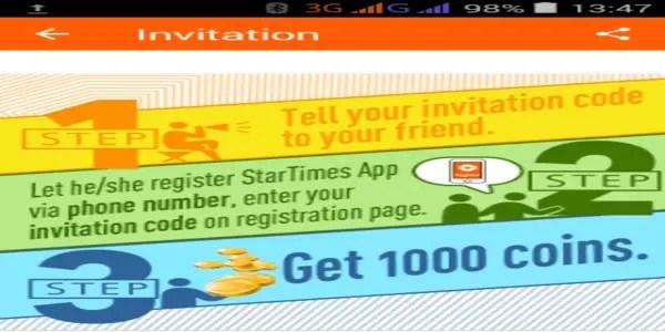 Invite and earn free credits on startimestv