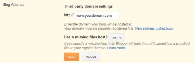 Blogger Custom Domain Mapping