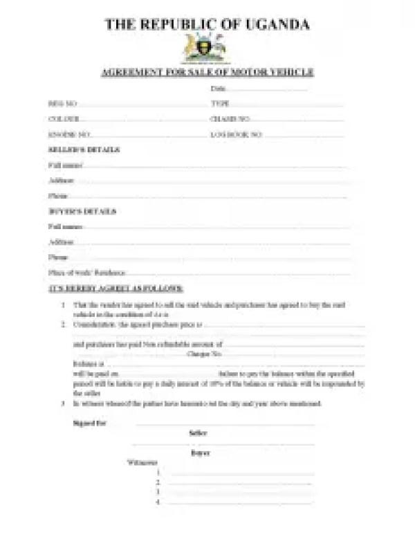 Motor vehicle sale agreement the republic of Uganda