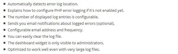 WordPress Error Log Plugin Features