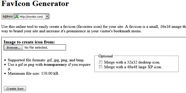 Dynamic drive free favicon generator