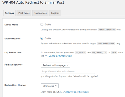Configure WP 404 Auto Redirect to Similar Post settings