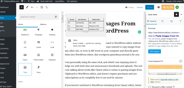 Paste Images From Clipboard to WordPress Editor: WordPress gutenberg examples