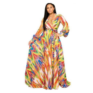 Animal Print Long Sleeve Ladies Dress