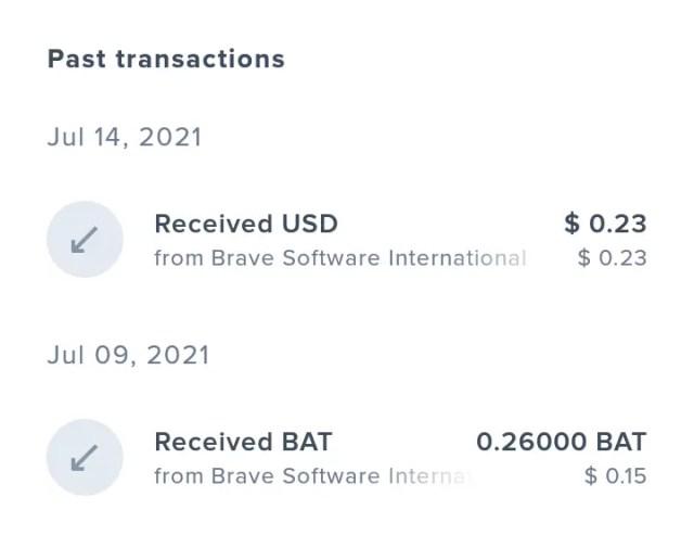 Withdraw Brave rewards