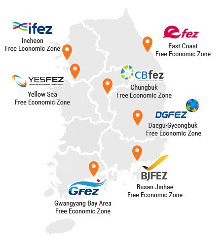 Map of Korea's Current Free Economic Zones. FDI Zones.