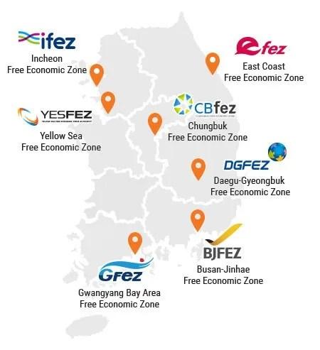 Map of Korea's Current Free Economic Zones. FDI Zones.