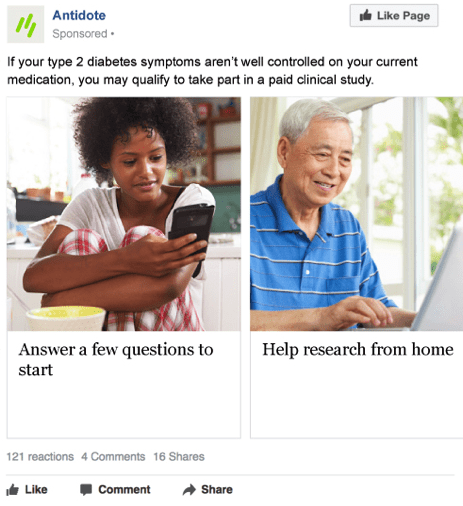 Diabetes trial ad with Black young woman and Asian senior man