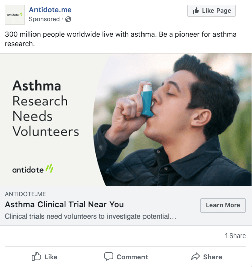 Ad with caption Asthma Research Needs Volunteers