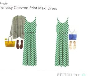 Tenessy Chevron Print Maxi Dress