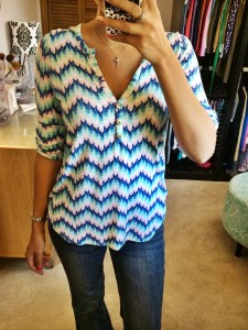 Edmond Chevron Print Henley Shirt