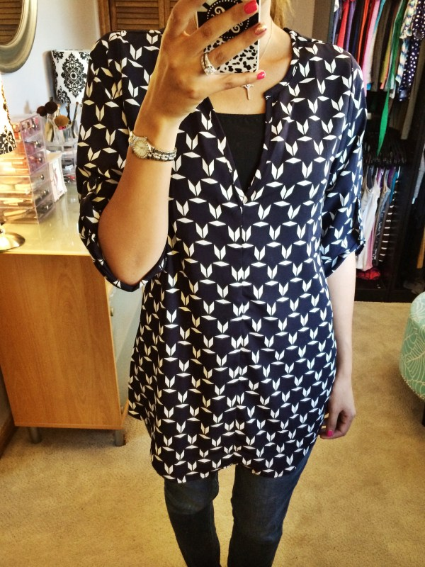 Clemency Graphic Print Tab Sleeve Tunic