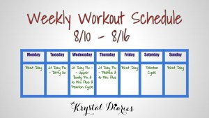 Weekly Workout Schedule 8.10.15 - 8.16.15